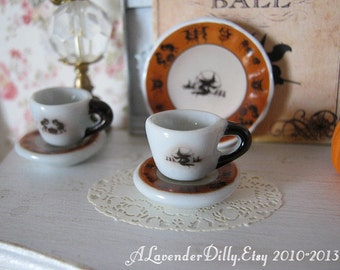 Hallow Witch Tea Cup and Saucer for Dollhouse