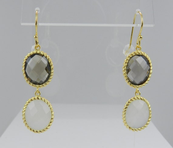 18K Yellow Gold over Sterling Silver Smokey Topaz & White Onyx Dangle Drop Earrings