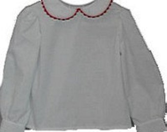 Girl White Peter Pan Collar Long Sleeve Blouse Shirt- white piping or red trim