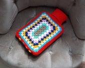 Handmade Granny Square Crochet Hot Water Bottle Cover: Red Rainbow