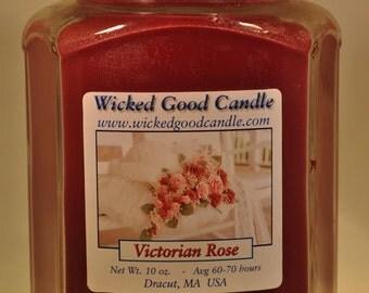 Glass Jar Candle Soy Paraffin Blend - Victorian Rose