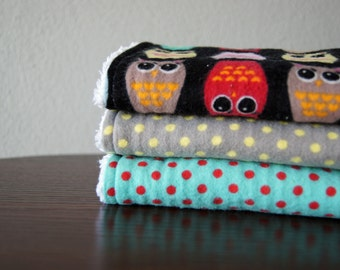 Gender Neutral Burp Cloths - Colorful Owls and Polka Dots - Red, Aqua, Gray - Gender Neutral Baby Gift - LAST ONE