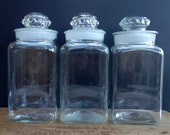 Vintage apothecary canister set