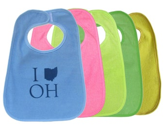 TerryCloth Bib with 'I (Ohio) OH' Design (Blue, Pink, Lime Green, Green)