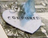 Stamped CONFUSED Frosted Pale Blue Glass Flower Heart Charm Necklace Valentine's Day Graduation Gift