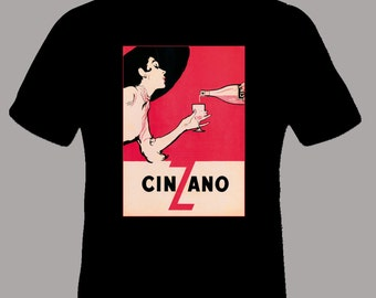 Vintage Cinzano Adult T Shirt in BLACK, Adult sizes S-5XL