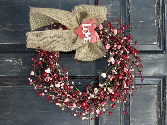LAST ONE Valentine Wreath Pink Heart Amp Red Berry Wreath