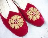 Red Velvet and Rhinestone Slippers ~ Rare / HTF / 1960's era Abercrombie & Fitch ~ Round Heel ~ Size 8.5