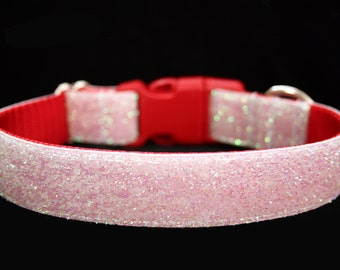 """Snow Glitter Dog Collar 1"""" Holiday Dog Collar Flower Not Included SIZE MEDIUM Ready To Ship"""