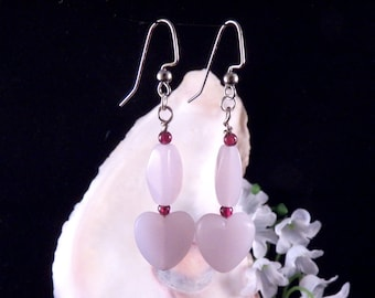 Pink Earrings - Heart Earrings - Pink Heart Earrings - Glass Bead Dangling Earrings - Handmade Costume Jewelry - Free Shipping  Made in USA
