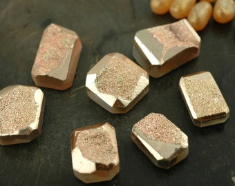 Rose Gold Metallic : Druzy Bead, Drusy Briolette Pendants, 18x24mm, 1 Pendant, Sparkly, Shimmering Bright Jewelry Making Supplies, DR259