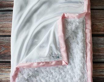 Minky Blanket, Blessing Blanket, Baptism blanket, satin and minky blanket, Christening Blanket, Baby Gift, baby blanket, soft Blanket, White