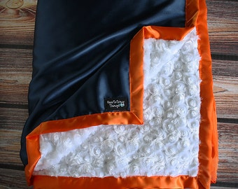 Chevron Minky, Satin Blanket, Broncos, Broncos Minky Blanket, minky blanket, boy blanket, Auburn blanket, orange and blue