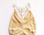 Yellow jersey baby romper 6-9mos