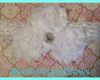 Shabby Chic -Petite Triple Shabby Flower Headband with Lace and Jewel Center-  Infant/Baby/Girls - 24 colors to choose from- Free Shipping