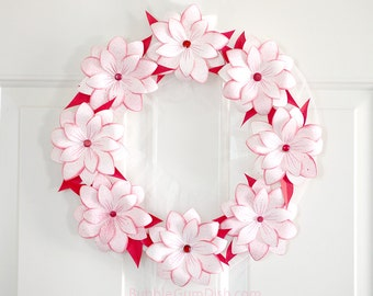Peppermint Poinsettia Decor Paper Wreath Holiday Wreath Red Leaves Pink Flowers 12 inch