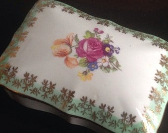 Pretty Little Floral China Box with 22KG Accents - Perfect Little Ringbox for Your Dresser Top
