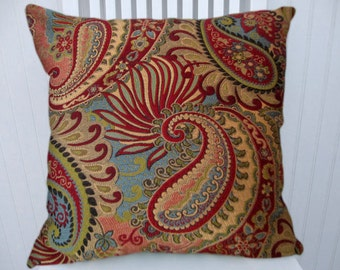 Turquiose Red Paisley  Decorative Throw Pillow Cover -18x18 or 20x20 or 22x22 Paisley Flowered Design Accent Pillow Red, Turquoise, Gold
