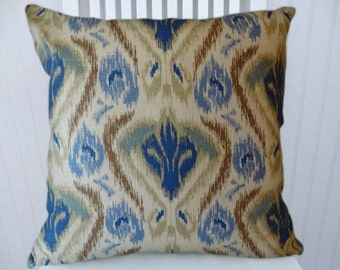 Blue Brown Pillow Cover-- Abstract Decorative Pillow Cover- 18x18 or 20x20 or 22x22 Throw Pillow- Accent Pillow