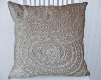 Taupe White Embroidered  Pillow Cover-- 18x18 or 20x20 or 22x22 Embroidered Decorative Chenille Throw Pillow- Accent Pillows