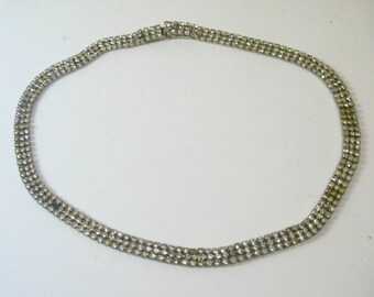 Vintage Narrow Rhinestone Choker Necklace