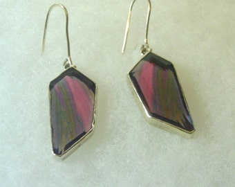 Sterling Silver Faceted Raspberry Pink Natural Stone Earrings - Vintage