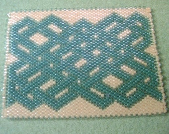 Beaded ACEO Mat - Glass Delica Seed Beads - Celtic Green on Peach - OOAK 1248