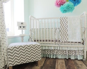 Baby Blue and Grey Crib Bedding Set with Grey Chevron and Blue Damask and Dots