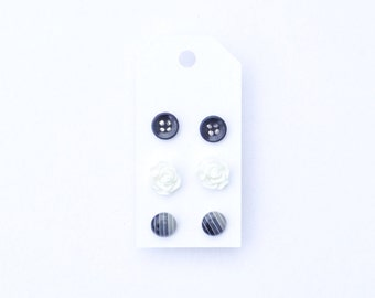 Black and White Post Earrings / Gray / Small Posts