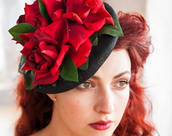 Vintage Style Elegant Red Roses Fascinator Hat