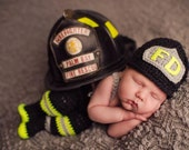 CROCHET PATTERN, 3 Month Size, Baby Firefighter Fireman Hat, Pants, Suspenders & Boots Photography Prop