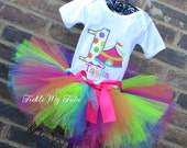 Under the Big Top Rainbow Polka Dot Circus Tent Carnival Themed Birthday Tutu Outfit, Carnival Party Outfit, Circus Party Outfit