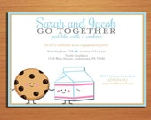Milk and Cookies Famous Pair Engagement Party Customized Printable Invitations /  DIY