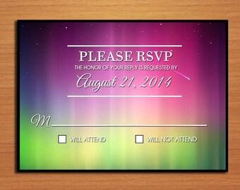 Northern Lights / Aurora Borealis Wedding RSVP Postcard PRINTABLE / DIY