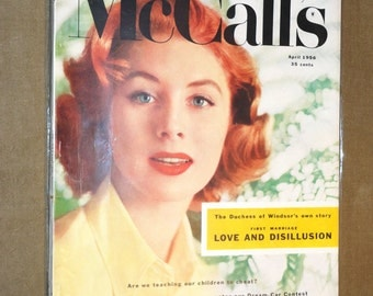 Rare Mid-Century Magazine Suzy Parker Cover MCCALLS April 1956 Complete Vintage Fashion Design Ads Eames Mad Men Era Betty Draper 1950's