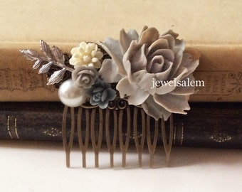 Gray Wedding Comb Woodland Bridal Hair Accessories Head Comb accent of Grey, Blue, White, Dusky Blue, Silver Leaves Pearl Rustic Big Rose WR