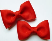 2 red pigtail hair bows--solid uniform tuxedo bow tie accessories for preppy baby toddler big girls
