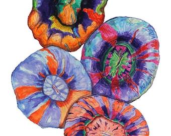"Scolymnia Garden 8"" x 12"" Archival Giclee print of an original watercolor"