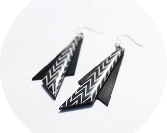 statement earrings black dangle earrings chevron earrings recycled earrings geometric earrings unique jewelry contemporary jewelry gift idea
