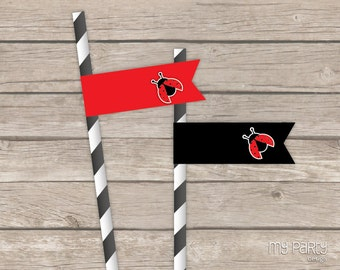 Ladybug Party - Straw Flags - INSTANT DOWNLOAD - Printable PDF