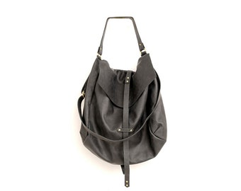 Black Leather Hobo Bag, Extra Large Fashion Handbag, Genuine Soft Leather  Bag, A specially go Kay , Designer Oversized