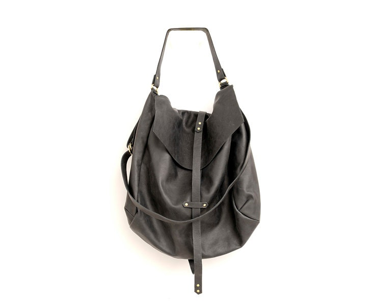 Oversized Black Leather Hobo Bag for Women Large Handmade