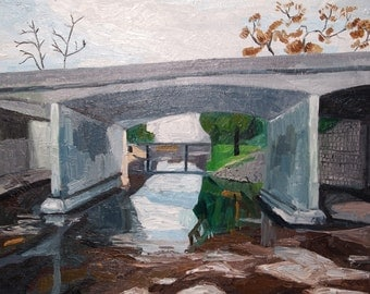 "Bridge over Brush Creek. Landscape Painting. Oil on Canvas. 16"" x 20"" Kansas City, Missouri"