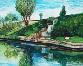 "Waterfall by Brush Creek, Kansas City, Missouri. Oil on Canvas. 18"" x 24"" Landscape painting."