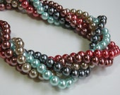 5 Glass pearl mix beads round multicolored 6mm 5 full strands 1004GB