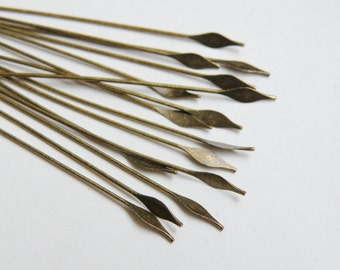 """50 Head Pins with pointed spear head 2"""" antique bronze plated brass 22 gauge A5561FN"""