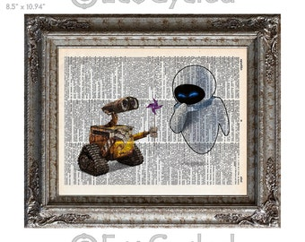 Wall-E & Eve 4 plain on Vintage Upcycled Dictionary Art Print Book Art Print Anniversary Wedding Robot Art Sci Fi Science Fiction sci fi art