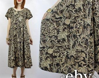 Adini India Dress Vintage Hippie Dress Vintage Indian Dress Bohemian Dress Vintage 70s Adini Dress Midi Dress Elephants Dress M L