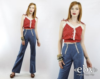 High Waisted Jeans High Waist Jeans Double Zipper Jeans Hippie Jeans Hippy Jeans Vintage 70s High Waisted 1970s Jeans 23 XS 70s Jeans