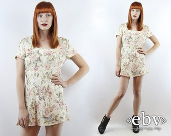 Vintage 90s Grunge Cream Floral Mini Dress S M 90s Grunge Dress 90s Floral Dress Babydoll Dress Cream Floral Dress Summer Dress